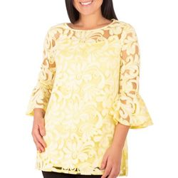 NY Collection Womens Lace Bell Sleeve Tunic