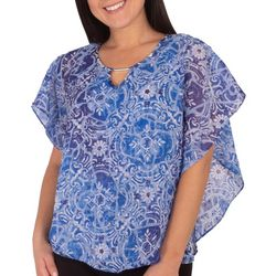 NY Collection Womens Patterned Poncho