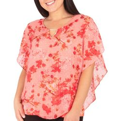 NY Collection Womens Mini Blossom Floral Poncho