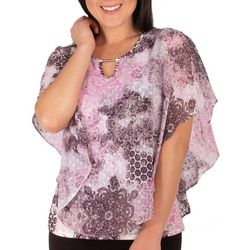 NY Collection Womens Digimedal Poncho Top