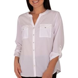 NY Collection Womens Ruched Tab Sleeve Top