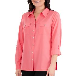 NY Collection Womens Roll Tab Sleeve Blouse