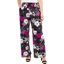 NY Collection Womens Floral Smocked Waistband Pant