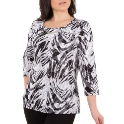 NY Collection Womens Pleated Top with Hardware Tri