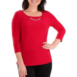 NY Collection Womens Solid Pleated Top
