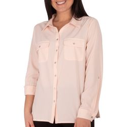 NY Collection Womens 3/4 Sleeve Button Up Top
