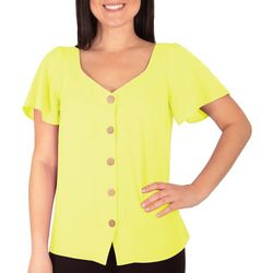 NY Collection Womens Short Bell Sleeve Crepe Top