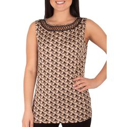 NY Collection Womens Geometric Eyelet Collar Tank