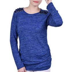 NY Collection Womens Rouched Side Seam Pullover