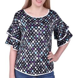NY Collection Womens Layered Bell Sleeve Top