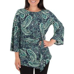 NY Collection Womens Paisley Flutter Sleeve Top