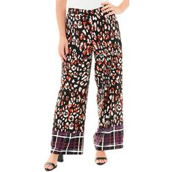 NY Collection Womens Animal Border Print Wide Leg Pants