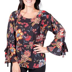 NY Collection Womens Floral Tie-Up Bell Sleeve Top