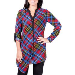 NY Collection Womens Asymmetrical Plaid Henley Top