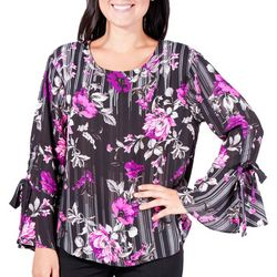 NY Collection Womens FLoral Stripe Tie-Up Bell Sleeve