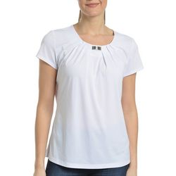 NY Collection Womens Pleated Front Tee