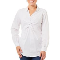 NY Collection Womens Knot Front Collar Blouse