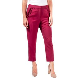 NY Collection Womens Ruffle Pocket Ankle Trouser
