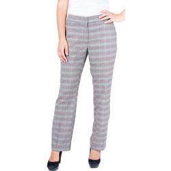 NY Collection Womens Plaid Slim Leg Trouser Pant