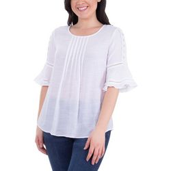 NY Collection Womens Pleated Bell Sleeve Crochet Top