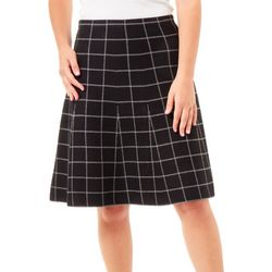 NY Collection Womens Windowpane Jacquard Knit Skirts