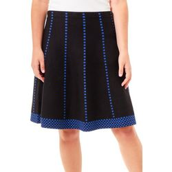 NY Collection Womens Checkered Jacquard Knit Skirt