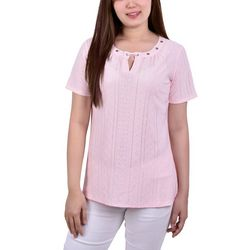 NY Collection Womens Grommet Neckline Eyelet Knit Top