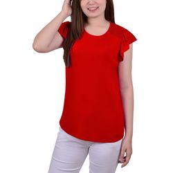 NY Collection Womens Smocked Shoulder Flutter Sleeve Top