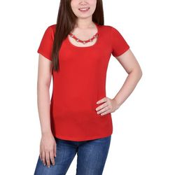 NY Collection Womens Ring Neck Short Sleeve Top