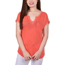 NY Collection Womens Stone Neckline Burnout Top