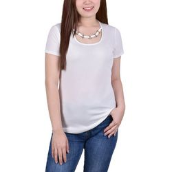 NY Collection Petite Ring Neck Short Sleeve Top