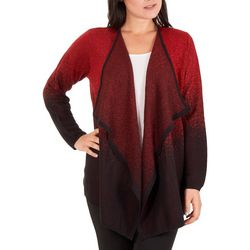 NY Collection Womens Ombre Lurex Draped Cardigan