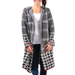 NY Collection Womens Open Front Mix Pattern Cardigan