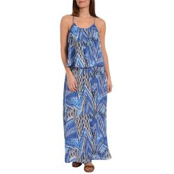 NY Collection Womens Print Spaghetti Strap Maxi