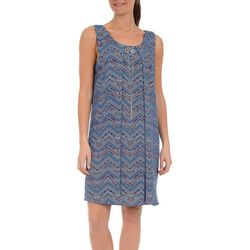NY Collection Womens Chevron Shift Dress