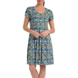 Womens Paisly Fit & Flare Dress