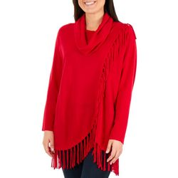 NY Collection Womens Faux Fringe Sweater