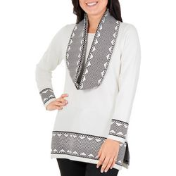 NY Collection Womens Geo Tunic with Scarf