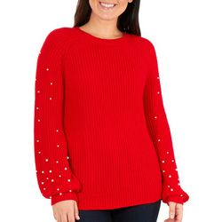NY Collection Womens Pearl Balloon Sleeve Sweater