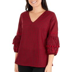 NY Collection Womens Gingham Pom Pom Sleeve Top