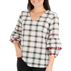 NY Collection Womens Gingham Pom Pom Bell Sleeve Top