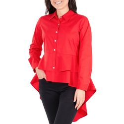 NY Collection Womens Puffle Peplum Blouse