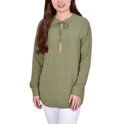 NY Collection Womens Long Sleeve Tie Neck Blouse
