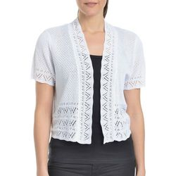 NY Collection Womens Short Sleeve Pointelle Shrug