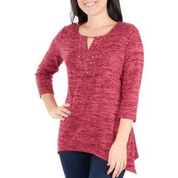 NY Collection Womens Embellished Keyhole Top