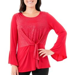 NY Collection Womens Glitter Tie-Front Top