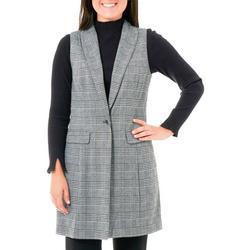 Womens Plaid Shawl Collar Ponte Vest