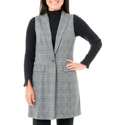 NY Collection Womens Plaid Shawl Collar Ponte Vest