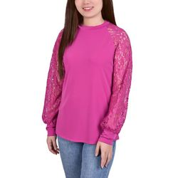 NY Collection Womens Lace Balloon Sleeve Blouse