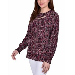 NY Collection Womens Cutout Neckline Printed Blouse